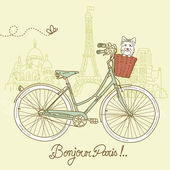 Riding a bike in style, Romantic postcard from Paris — Cтоковый вектор