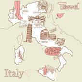 Creative map of Italy, all the best tourist attractions — Stock Vector