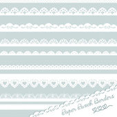 Set of hand-drawn Lace Paper Punch Borders — Stock Vector