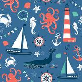 Retro Seamless Nautical pattern — Stock Vector