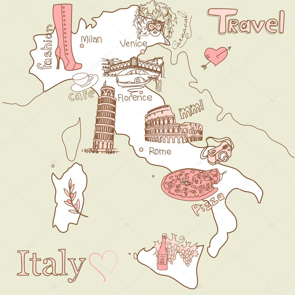Creative map of Italy all the best tourist attractions – Tourist Map Of Italy