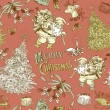 Stock Vector: Vintage Christmas seamless pattern