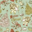 Vintage Christmas seamless pattern — Stock Vector