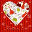 Christmas SALE! A heart shape made of of different female fashion accessories. — Grafika wektorowa