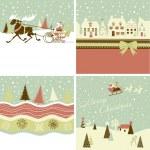 Set of Retro Christmas Cards — Stock Vector