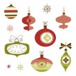 Stock Vector: Set of Retro Christmas Ornaments