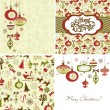 Stock Vector: Set of Christmas Retro backgrounds