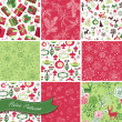 Stock Vector: Set of Christmas Seamless backgrounds