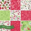 Set of Christmas Seamless backgrounds — Stock Vector