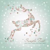 Christmas deer, Vintage vector illustration — Stock Vector