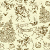 Vintage Christmas pattern — Stock Vector