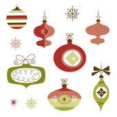 Set of Retro Christmas Ornaments — Stock Vector