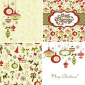 Set of Christmas Retro backgrounds — Stock Vector