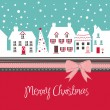 Christmas card, cute little town in winter — Stock Vector