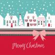 Vánoční přání, roztomilé malé městečko v zimě — Stock vektor