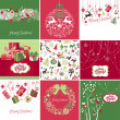 Stock Vector: Set of pink, red and green Christmas Cards templates