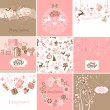 Set of pink and brown Christmas Cards - Stock Vector