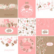 Stock Vector: Set of pink and brown Christmas Cards