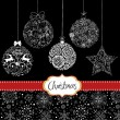 Vector de stock : Black and White Christmas ornaments