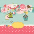 Stock Vector: Beautiful Spring background with bird houses, birds and flowers
