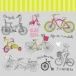 Royalty-Free Stock Vector Image: Vintage bicycle set and a beautiful girl riding a bike