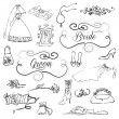 Wedding set of cute glamorous doodles and frames - Imagen vectorial