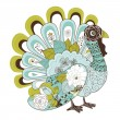 Stock Vector: Happy Thanksgiving beautiful turkey card
