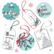 Royalty-Free Stock Vector Image: Vintage Red and Blue Christmas tags