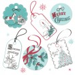 Vintage Red and Blue Christmas tags — Stock Vector