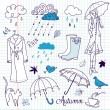 Royalty-Free Stock Imagem Vetorial: Rainy autumn days doodles