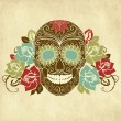 Skull and roses, Colorful Day of the Dead card — Stock Vector