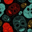 Seamless Blue, Black and Red background with skulls — Stock Vector
