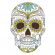 Stock Vector: Day of Dead colorful Skull with floral ornament