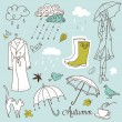 Royalty-Free Stock Vector Image: Rainy autumn days doodles