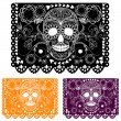 Day of the dead ecoration. Papel Picado - Stock Vector