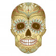 Day of The Dead colorful Skull with floral ornament - Imagen vectorial
