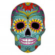 Day of The Dead colorful Skull with floral ornament - Stok Vektör