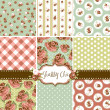 ストックベクタ: Shabby Chic Rose Patterns and seamless backgrounds. Ideal for printing onto fabric and paper or scrap booking.