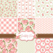 Shabby Chic Rose Patterns and seamless backgrounds. Ideal for printing onto fabric and paper or scrap booking. - 图库矢量图片