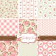Shabby Chic Rose Patterns and seamless backgrounds. Ideal for printing onto fabric and paper or scrap booking. — Stock Vector