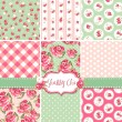 Shabby Chic Rose Patterns and seamless backgrounds. Ideal for printing onto fabric and paper or scrap booking. — Stock Vector #16794045