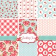 Shabby Chic Rose Patterns and seamless backgrounds. Ideal for printing onto fabric and paper or scrap booking. - Stok Vektör