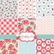 Stock vektor: Shabby Chic Rose Patterns and seamless backgrounds. Ideal for printing onto fabric and paper or scrap booking.