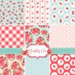 Shabby chic rosa mönster och sömlös bakgrund. perfekt för utskrift på tyg och papper eller skrot bokning — Stockvektor