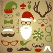 Retro Party set - Santa Claus beard, hats, deer antlers, bow, glasses, lips, mustaches - Stok Vektör