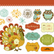 Stock Vector: Happy Thanksgiving beautiful clip art