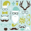 Stock Vector: Retro Party set - Santa Claus beard, hats, deer antlers, bow, glasses, lips, mustaches