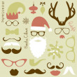 Retro Party set - Santa Claus beard, hats, deer antlers, bow, glasses, lips, mustaches — Stock Vector