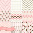 A set of seamless retro Zig zag and floral patterns - Stok Vektör