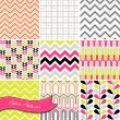 A set of seamless retro Zig zag and floral patterns - Stock Vector